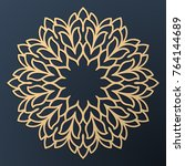 laser cutting mandala. golden... | Shutterstock .eps vector #764144689