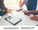 business team meeting working...   Shutterstock . vector #764145175