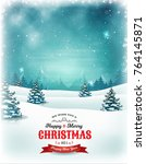 vintage christmas and new year... | Shutterstock .eps vector #764145871