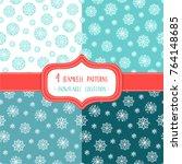 set of four christmas seamless... | Shutterstock .eps vector #764148685