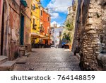 colorful south italy village... | Shutterstock . vector #764148859
