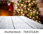 white wooden table of space for ... | Shutterstock . vector #764151634