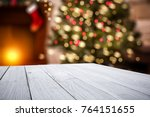 white wooden table of space for ... | Shutterstock . vector #764151655