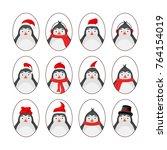 set of different penguins.... | Shutterstock . vector #764154019