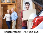 adult son moving out of parent... | Shutterstock . vector #764155165