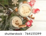 eggnog winter christmas... | Shutterstock . vector #764155399