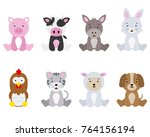 set farm animals isolated with... | Shutterstock .eps vector #764156194