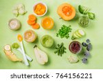 colorful baby food purees in... | Shutterstock . vector #764156221