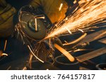 beautiful yellow sparks from... | Shutterstock . vector #764157817