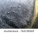 frost on the metal. fluffy... | Shutterstock . vector #764158369