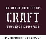 narrow stencil plate serif font ...   Shutterstock .eps vector #764159989