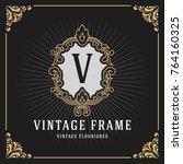 vintage luxury monogram banner... | Shutterstock .eps vector #764160325