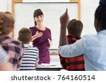 teenage pupil answering... | Shutterstock . vector #764160514