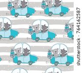 seamless pattern with cute...   Shutterstock .eps vector #764162587