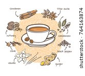 spices for coffee. vector... | Shutterstock .eps vector #764163874