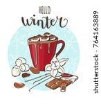 hello winter cocoa with...   Shutterstock .eps vector #764163889