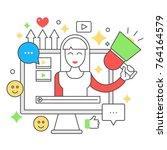 video blogger flat line web... | Shutterstock . vector #764164579