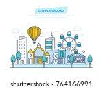 city playground. public park...   Shutterstock .eps vector #764166991