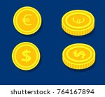 coin dollar and euro in two... | Shutterstock .eps vector #764167894