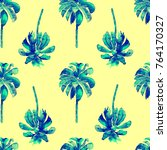 palm pattern. exotic watercolor ... | Shutterstock . vector #764170327