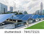 solar and modern city skyline   | Shutterstock . vector #764172121