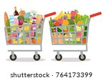 grocery in a shopping cart and... | Shutterstock .eps vector #764173399