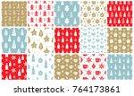 christmas doodles seamless... | Shutterstock .eps vector #764173861