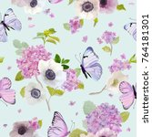 Stock vector seamless pattern with blooming hydrangea flowers and flying butterflies in watercolor style beauty 764181301