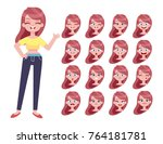 set of woman's face emotions.... | Shutterstock .eps vector #764181781