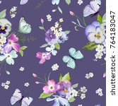 seamless pattern with blooming... | Shutterstock .eps vector #764183047