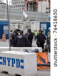 Small photo of NEW YORK - MAY 2: Port Authority Police stand guard near the World Trade Center PATH train station on May 2, 2011 in New York City. Osama bin Laden was killed in Pakistan by US Seals the day before.