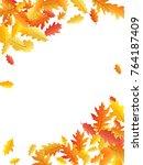 corners of colorful oak leaf... | Shutterstock .eps vector #764187409