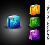 colorful set of shopping bags...   Shutterstock .eps vector #76418908