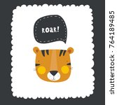 vector print with tiger for baby | Shutterstock .eps vector #764189485