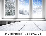 window with winter landscape... | Shutterstock . vector #764191735