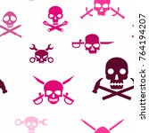 seamless pattern with skulls... | Shutterstock .eps vector #764194207