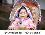 cute little beautiful baby girl ...   Shutterstock . vector #764194555