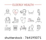 elderly health line icons set.... | Shutterstock .eps vector #764195071