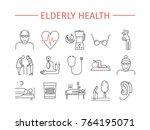 elderly health line icons set.... | Shutterstock .eps vector #764195071