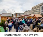 tourist at christmas market and ... | Shutterstock . vector #764195191