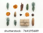 composition with christmas gift ... | Shutterstock . vector #764195689