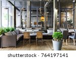 interior of cozy restaurant.... | Shutterstock . vector #764197141