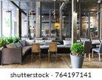 interior of cozy restaurant.... | Shutterstock . vector #764197141