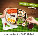 boxed lunch with asian food on... | Shutterstock .eps vector #764198167
