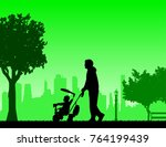 father walking with his baby a...   Shutterstock .eps vector #764199439