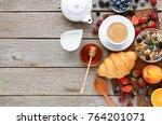 delicious breakfast background. ... | Shutterstock . vector #764201071