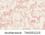 animals of wild world seamless... | Shutterstock .eps vector #764201215