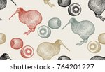 kiwi birds and fruits. seamless ... | Shutterstock .eps vector #764201227