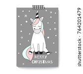 merry christmas. cute unicorn.... | Shutterstock .eps vector #764201479