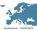 denmark on the europe map | Shutterstock . vector #764202325